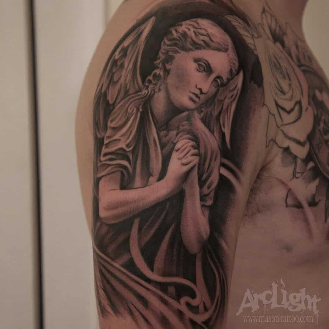Angel tattoo by @arclighttattoo