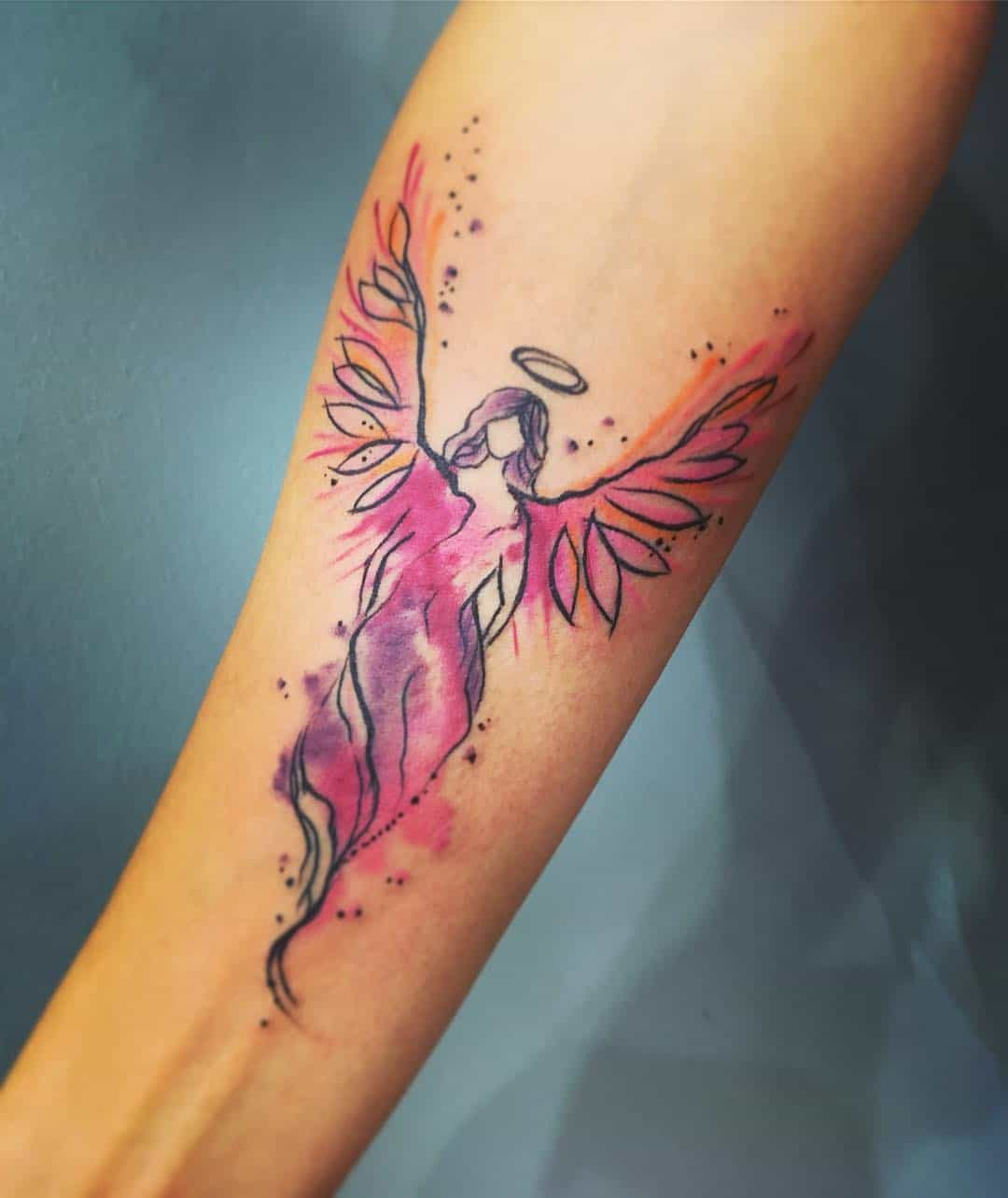 Angel tattoo by @klarastacova
