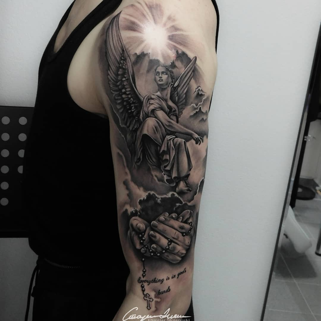 Angel tattoo by @stojanoski_tattoo