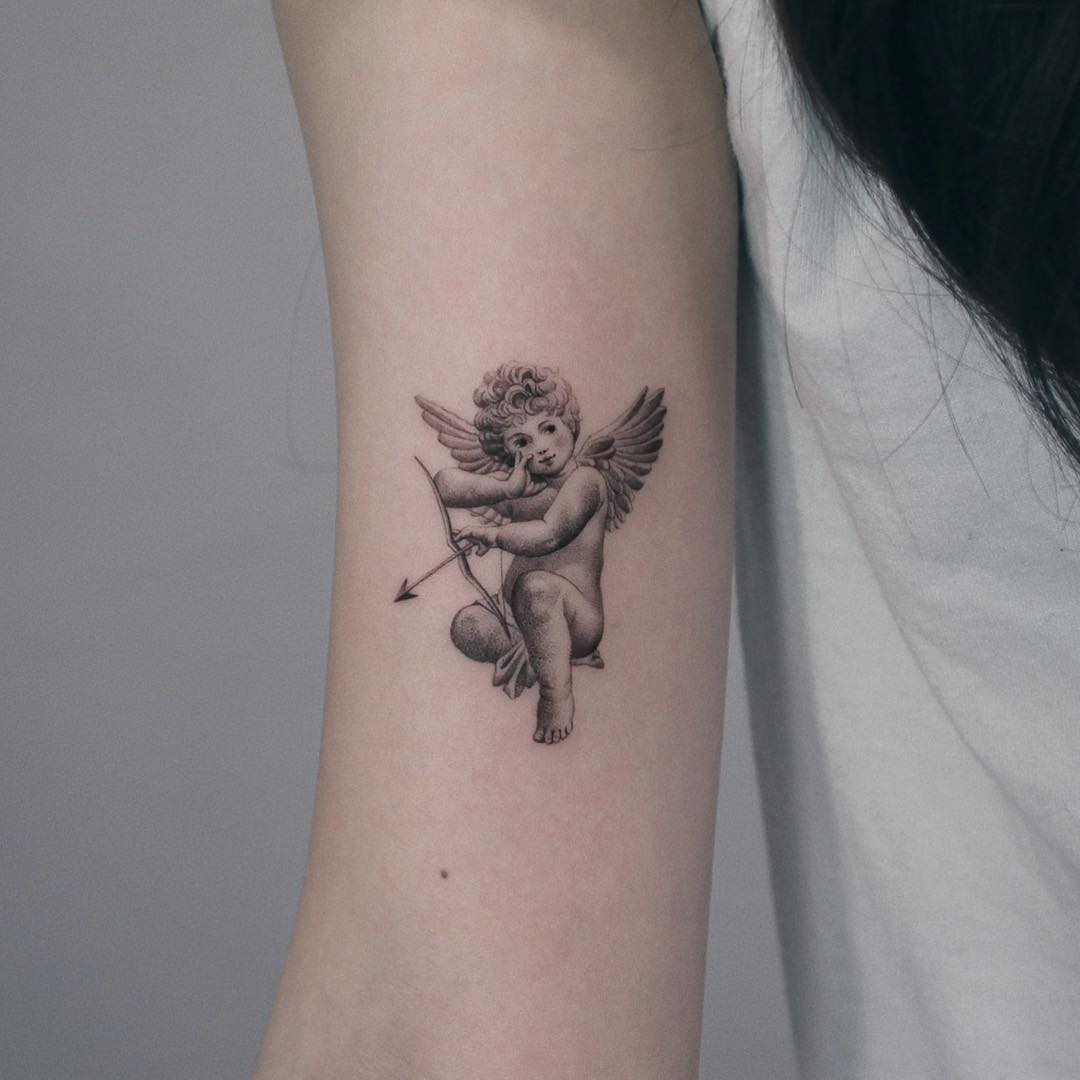 Angel tattoo by @zipinblack