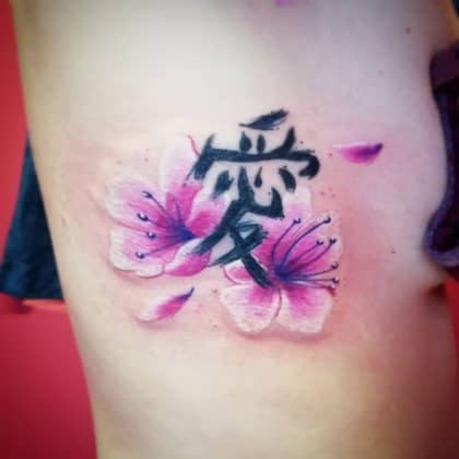 Fiori di ciliegio tatuaggio scritta giapponese