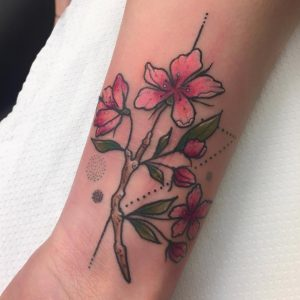 Tattoo fiori di ciliegio a colori
