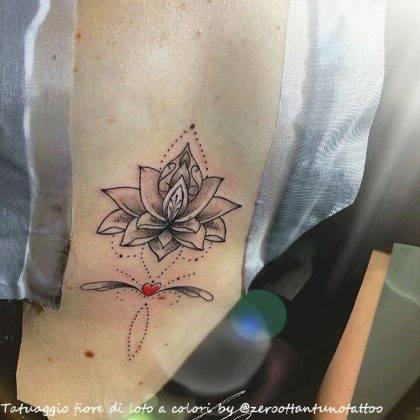 tattoo fiore di loto cuore by @zeroottantunotattoo