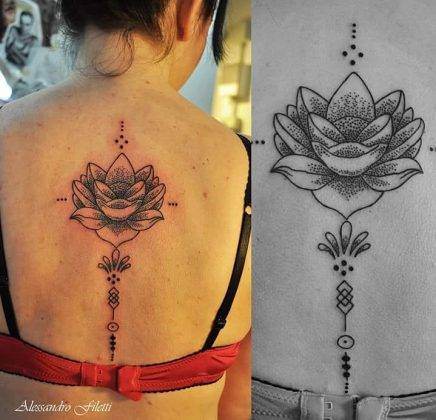 tattoo fiore di loto linee dotwork by @alessandrofilettitattoo