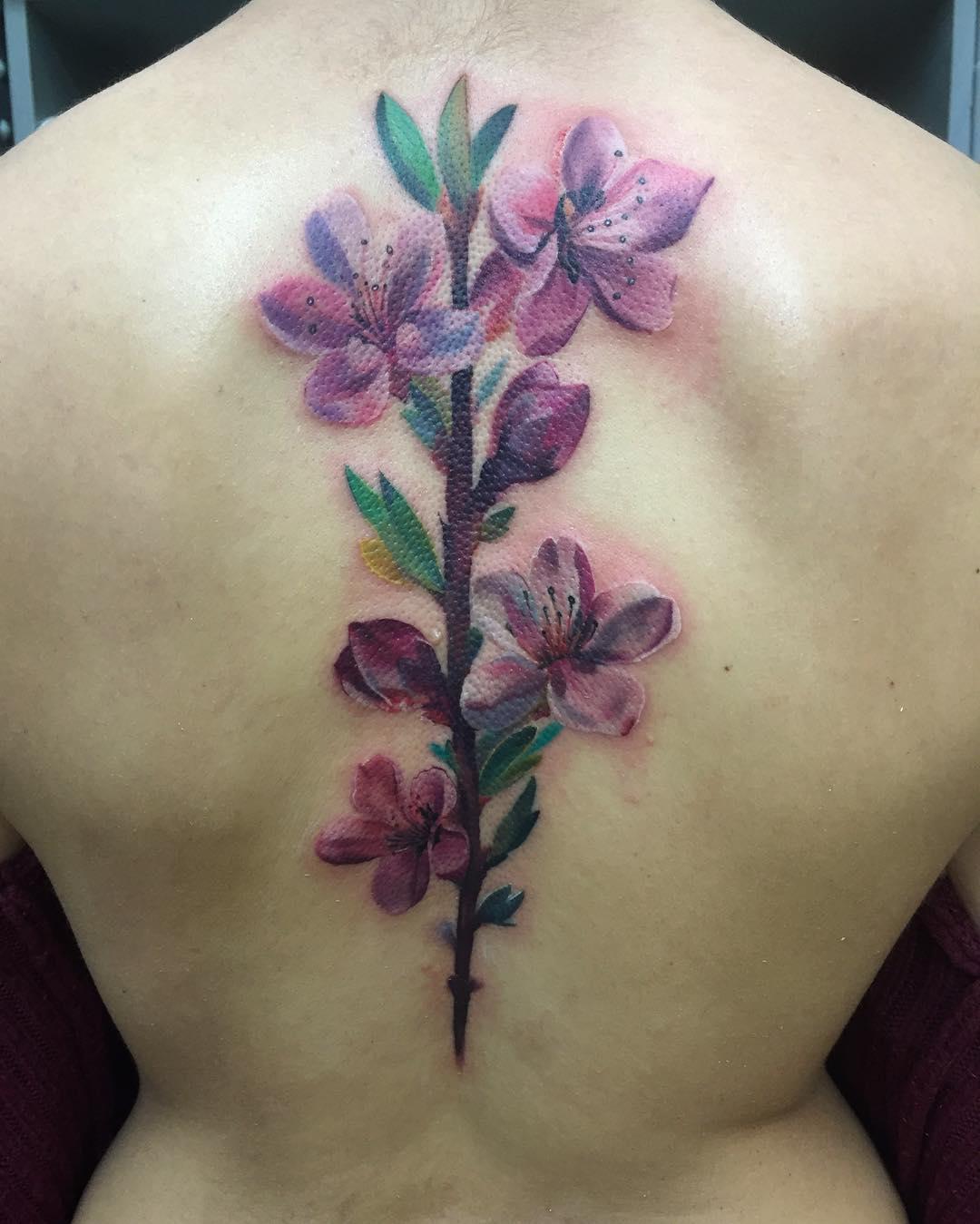 tattoo fiore di pesco by @arochatattoo