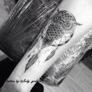 gufo tattoo by @lady_goshira