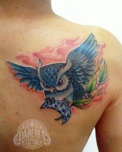 gufo tattoo by @darumatattoopuebla