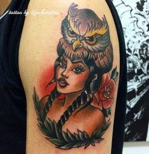 gufo tattoo by @juleetattoo