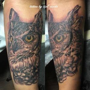 gufo tattoo by @el_sando