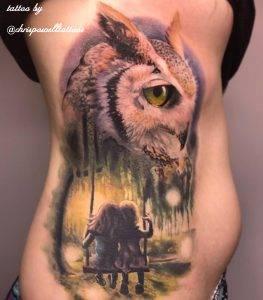 gufo tattoo by @chrispowelltattoos