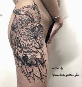 gufo tattoo by @saudade_tattoo_bcn
