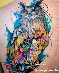 gufo tattoo by @crossmyhearttattoo