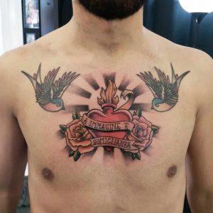 tattoo passione Cristo rondini by @giorgio_troncarelli