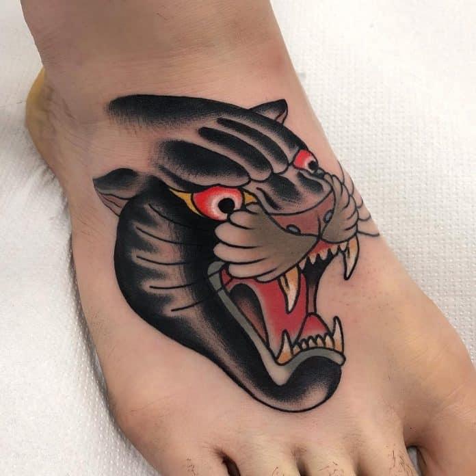 tatuaggio pantera old style by @fabioonorini