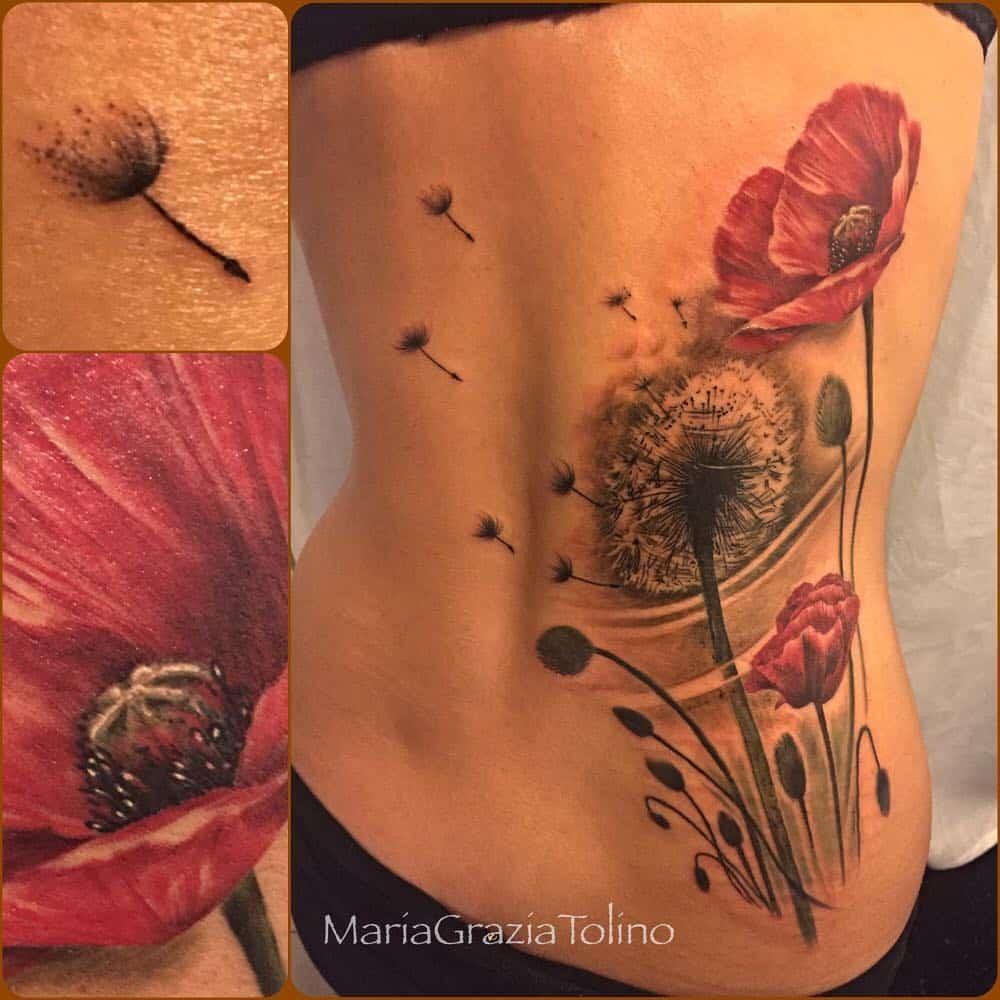 tatuaggio grande soffione e papaveri by @mariagraziatolino