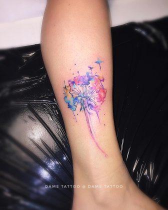 tatuaggio soffione watercolor by @dame_tattoo