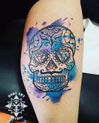 Teschio messicano watercolor by @bodyartstudio_elfurtattoo