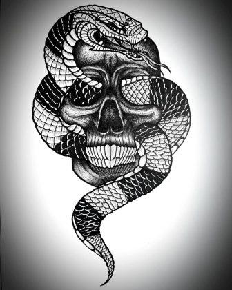 Sketch Tattoo teschio serpente
