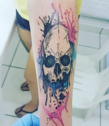 Tattoo teschio colorato