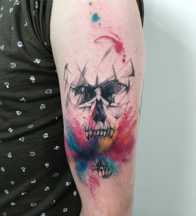 Tattoo teschio watercolor