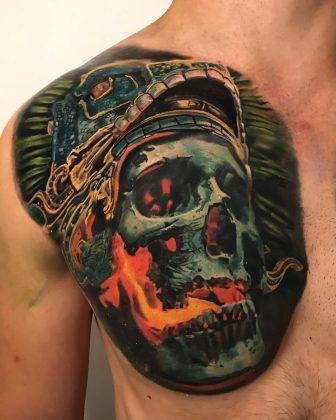 Tattoo teschio infuocato