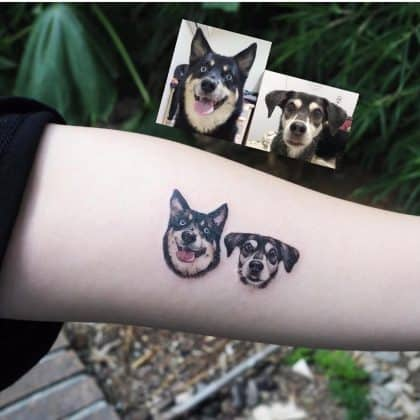 dog portrait tattoo by @bangbangnyc