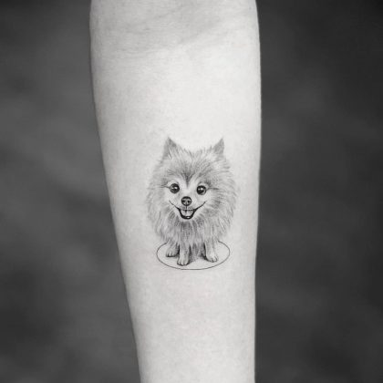 dog tattoo by @bangbangnyc
