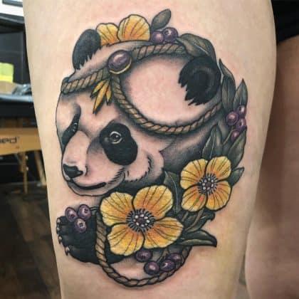 tattoo panda colorato