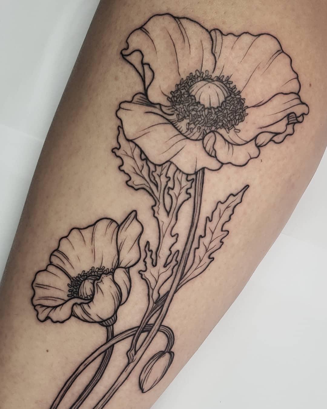 poppy tattoo by @allmyotherstuff