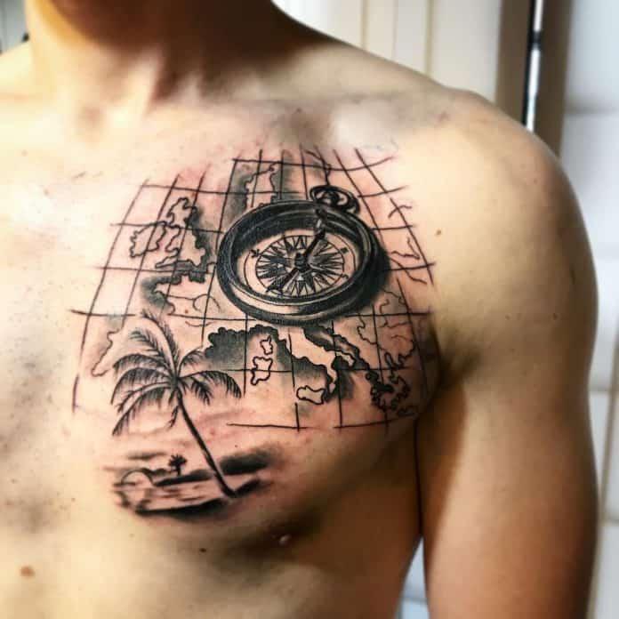 Tatuaggio Cartina Geografica con palma e bussola by @xsummerbanditx