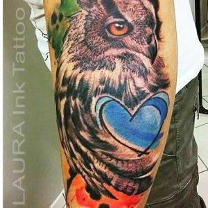 tattoo-cuore-gufo-by-@laurainktattoo