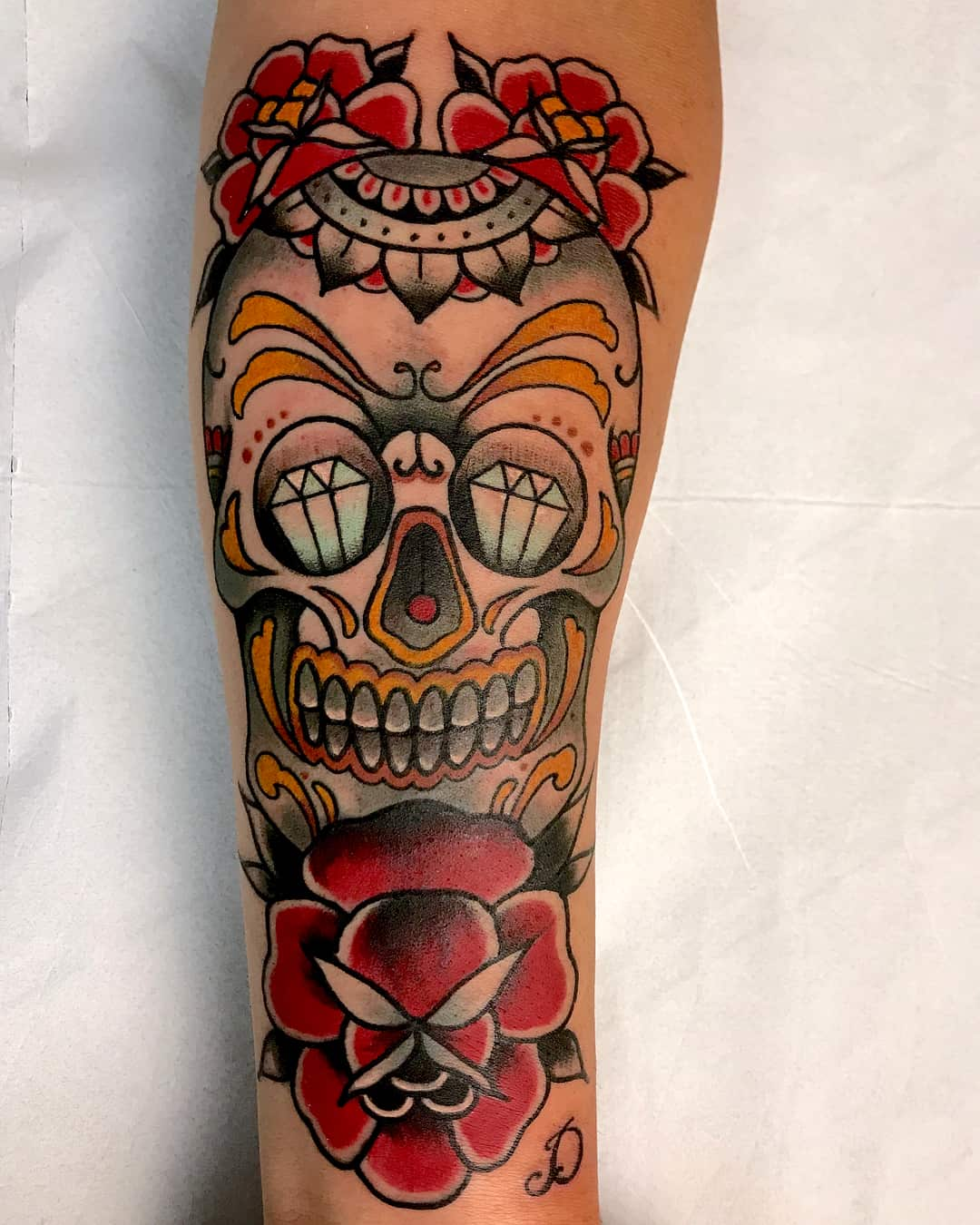 teschio e rosa tattoo old school