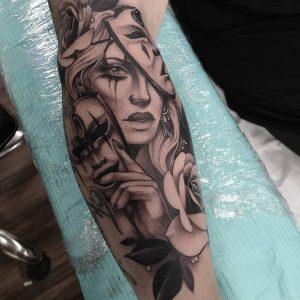 mask tattoo by @sash_tattoo