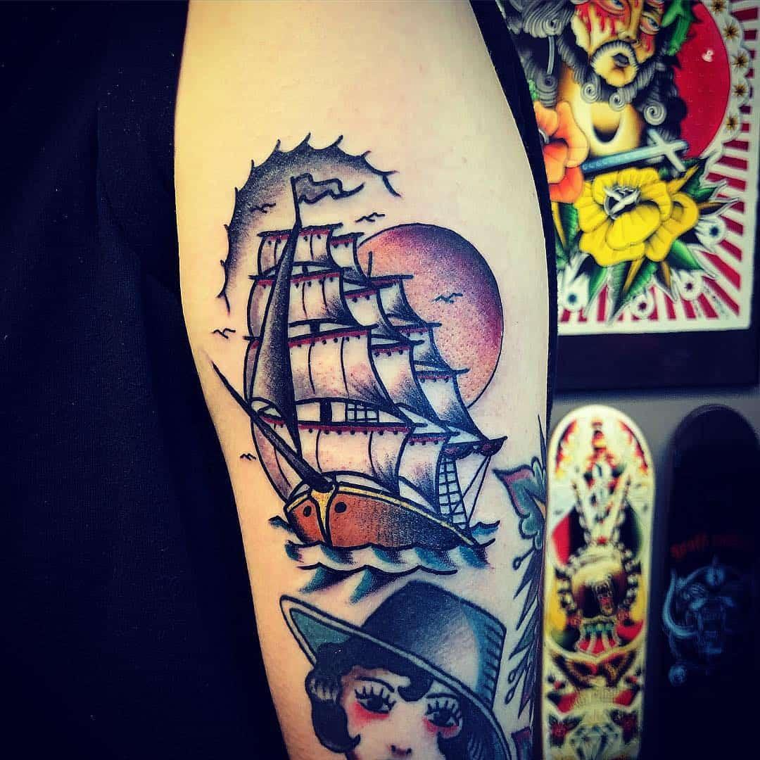 old school veliero tattoo by @trommastattoo
