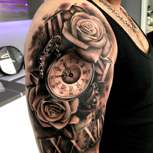 orologio da taschino tattoo con rose
