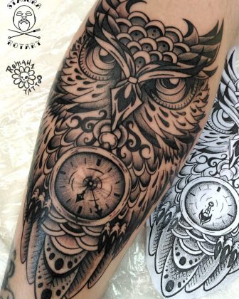 tattoo orologgio con gufo