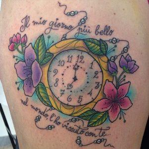 tattoo orologio colori scritte