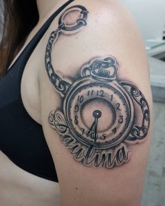 tattoo orologio nome e catena