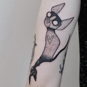 Tattoo cat by @kat.blackout