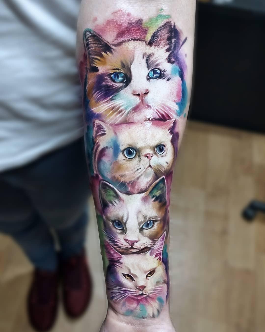 Tattoo cats by @vinnitattoo