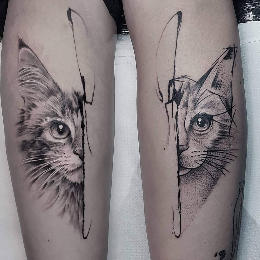 Tattoo gatto by @john_logan_tattoo