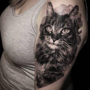 Tattoo gatto by @rusty_tattoo