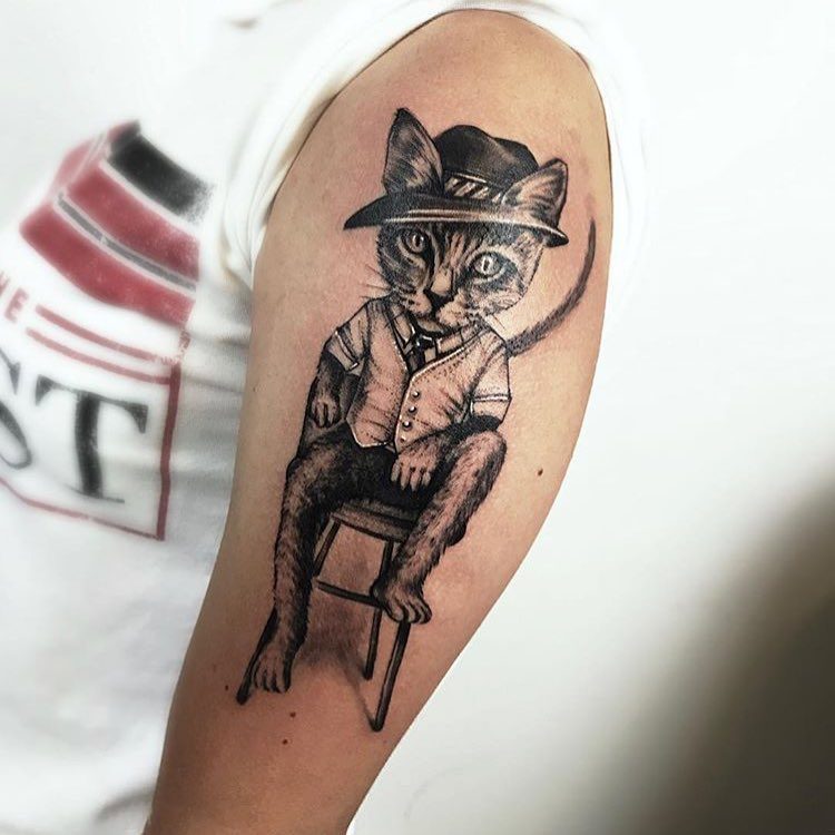Tattoo gatto by @samsaratattoosabanilla