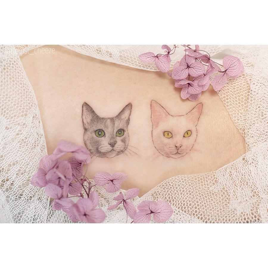 Tattoo gatto by @tattooist_cheeze