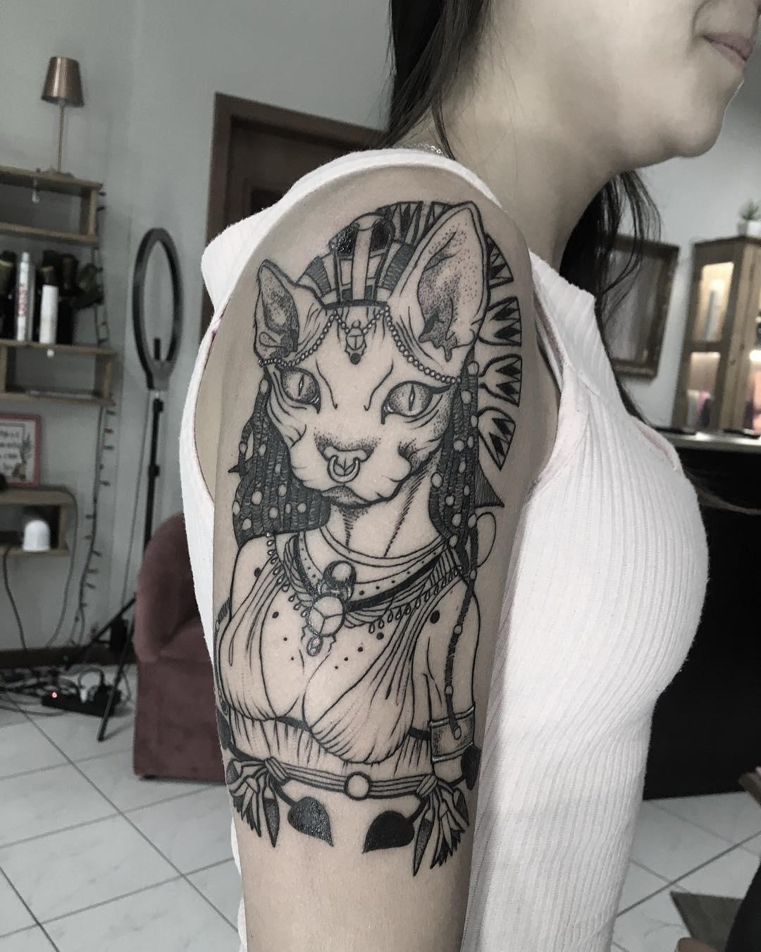tattoo gatto by @alexandrebremem