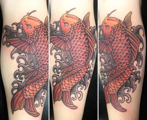 Tattoo carpa koi rossa