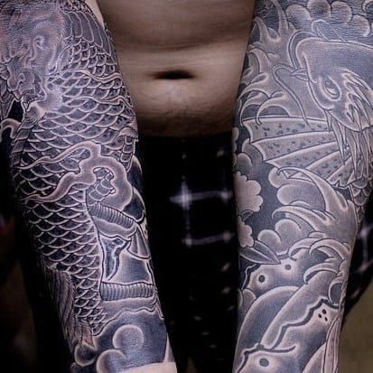 Tattoo koi carp arms