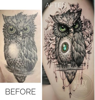 gufo tattoo coverup by @haley_wasdal_tattoos