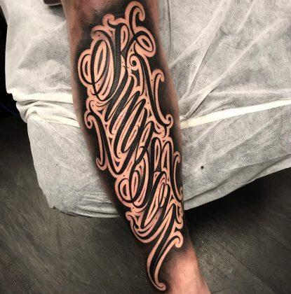 lettering tattoo by @all4thekauzetattoo