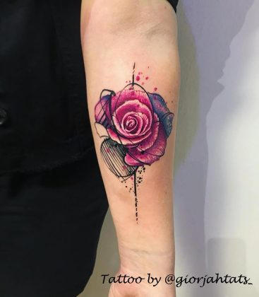 tatuaggi rose colorate by @giorjahtats_